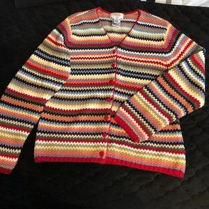 Talbots striped Button cardigan